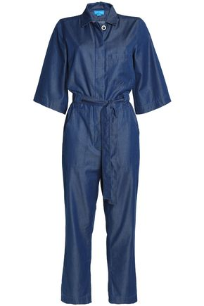 M.I.H JEANS Montara cropped cotton-blend chambray jumpsuit