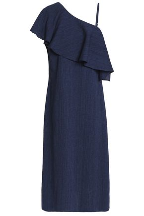 M.I.H JEANS One-shoulder ruffled crinkled cotton and linen-blend dress