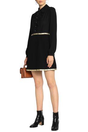 COACH Studded lamé-trimmed crepe de chine and ponte mini shirtdress