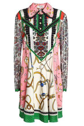 COACH Crochet-trimmed printed silk-satin, twill and georgette mini shirtdress