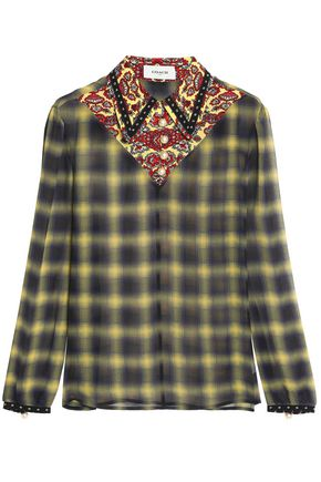 COACH Printed silk georgette-trimmed checked gauze shirt