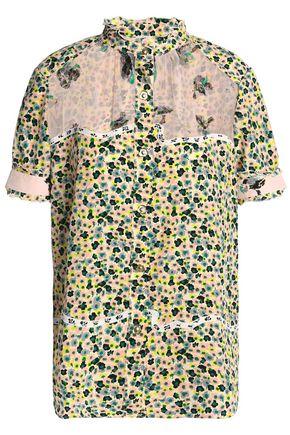 COACH Voile-paneled floral-print silk-georgette shirt
