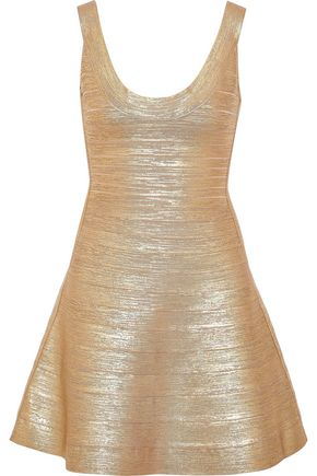 HERVÉ LÉGER Eva metallic bandage mini dress