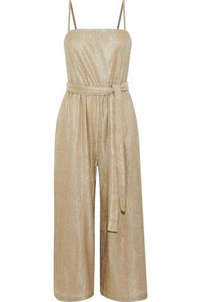 REBECCA VALLANCE Cancun cropped ribbed lamé jumpsuit