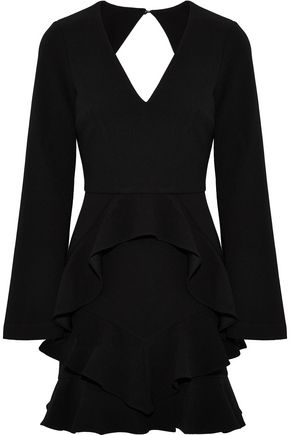 REBECCA VALLANCE Havana cutout ruffled crepe mini dress
