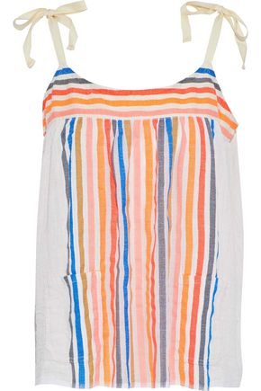 LEMLEM Candace striped cotton-blend gauze top
