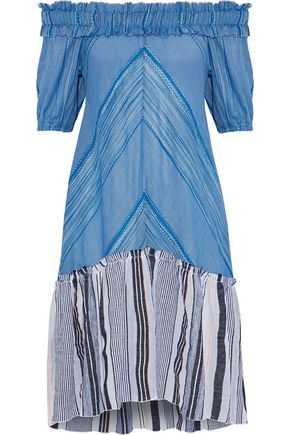 LEMLEM Semay off-the-shoulder embroidered striped cotton-gauze dress