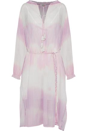LEMLEM Tie-dyed striped cotton-gauze dress