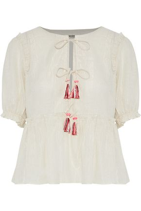 LEMLEM Embroidered cotton and silk-blend top