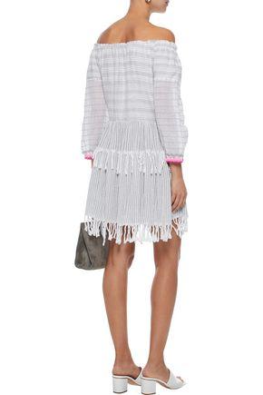LEMLEM Anan off-the-shoulder striped cotton-blend gauze dress