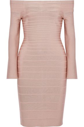 HERVÉ LÉGER Candice off-the-shoulder bandage dress
