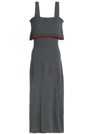 MILLY Metallic layered ribbed wool-blend midi dress