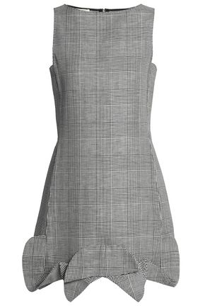 ANTONIO BERARDI Prince of Wales wool, linen and silk-blend mini dress