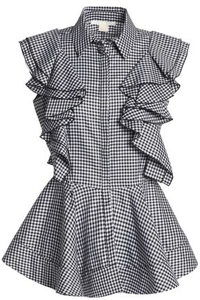 ANTONIO BERARDI Ruffled gingham cotton-poplin peplum top