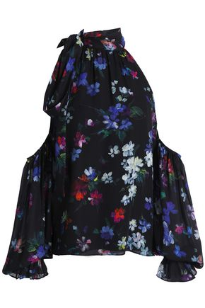 MILLY Cold-shoulder floral-print silk top