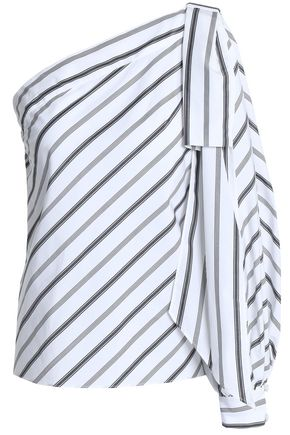 MILLY Nina one-shoulder striped cotton-poplin top