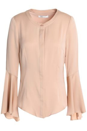 MILLY Fluted silk-blend crepe de chine blouse