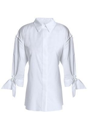 MILLY Tie-back cotton-poplin shirt
