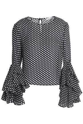MILLY Gabby polka-dot silk crepe de chine blouse