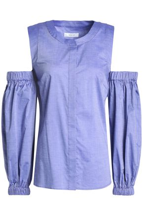 MILLY Mica cold-shoulder cotton-chambray top