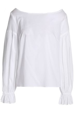 MILLY Gathered cotton-poplin blouse