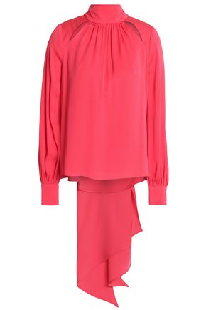 MILLY Cutout gathered silk-blend crepe de chine blouse