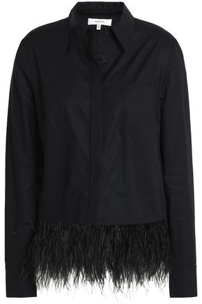 MILLY Ostrich feather-trimmed cotton-poplin shirt