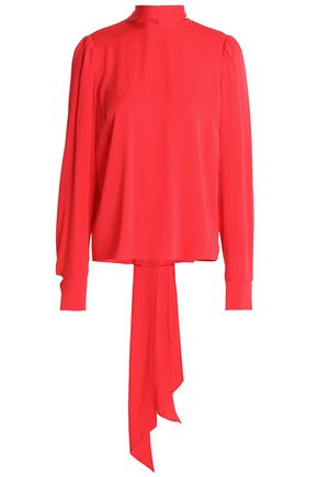 MILLY Bow-detailed silk-blend crepe de chine blouse