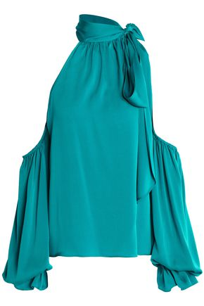 MILLY Cold-shoulder silk-blend blouse