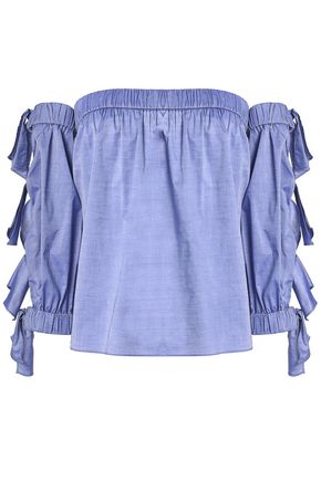 MILLY Off-the-shoulder knotted cotton-chambray top