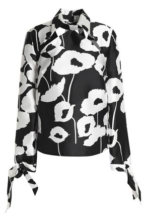 MILLY Aria cutout floral-print twill blouse