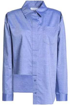 MILLY Asymmetric cutout cotton-chambray shirt