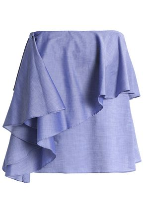 MILLY Strapless ruffled cotton-chambray top