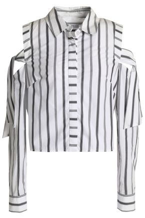 MILLY Riley cold-shoulder striped cotton-poplin shirt