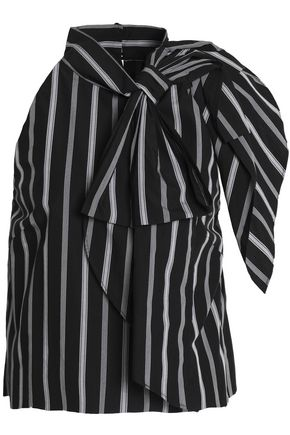 MILLY Sasha bow-embellished striped cotton-poplin blouse