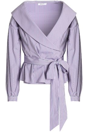 MILLY Striped cotton wrap top