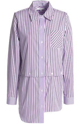 MILLY Asymmetric striped cotton shirt