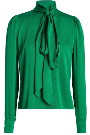 MILLY Bow-detailed silk-blend crepe de chine turtleneck blouse