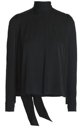 MILLY Kitty pussy-bow cutout stretch-silk blouse