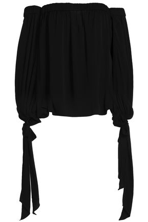 MILLY Off-the-shoulder draped silk-blend blouse