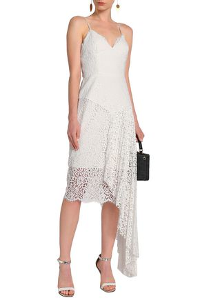 MILLY Asymmetric draped corded lace dress