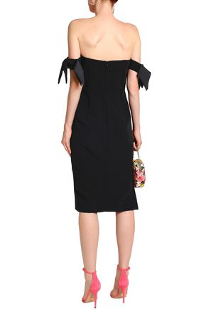 MILLY Brit off-the-shoulder knotted cady dress