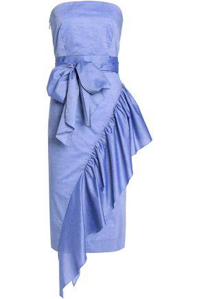 MILLY Sasha strapless ruffled cotton-chambray dress