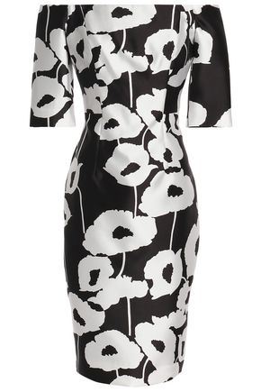 MILLY Off-the-shoulder floral-print twill dress
