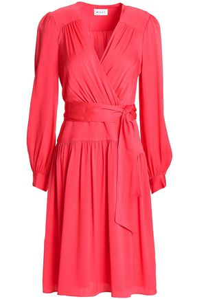 MILLY Wrap-effect belted silk-blend crepe de chine dress