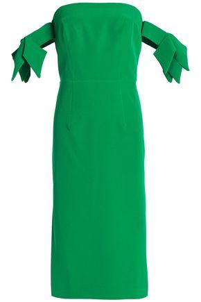 MILLY Brit off-the-shoulder bow-embellished cady dress