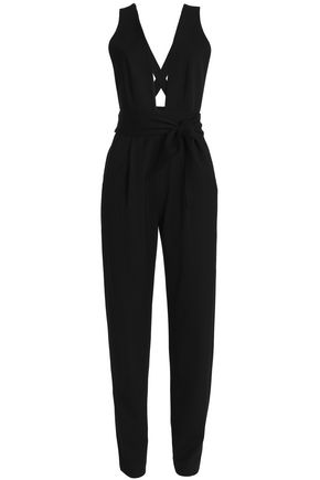 MILLY Open-back wool-blend crepe jumpsuit