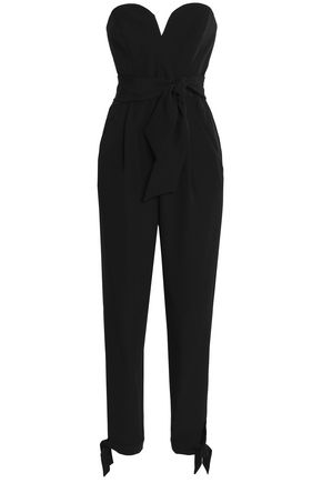 MILLY Strapless belted cady jumpsuit