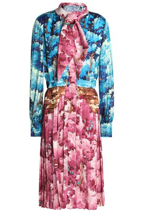 MARCO DE VINCENZO Knotted printed satin dress