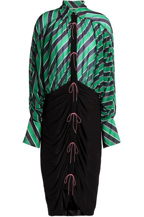 MARCO DE VINCENZO Bow-detailed striped chiffon and stretch-jersey shirtdress